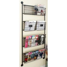 The DecMode Metal Wall Basket are perfect for your office as well as any room in the home. The four-tiered rack is made from gorgeous black iron,. Metal Wall Basket, Metal Baskets, Baskets On Wall, Storage Rack, Storage Baskets, Camper Storage, Storage Ideas, Book Storage Kids, Dorm Storage