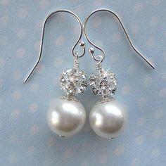 Pearl Necklace  Bridal Pearl and Crystal Rhinestone Fireball