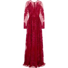 Zuhair Murad Zuhair Murad - Embroidered Silk-blend Tulle Gown (£4,210) ❤ liked on Polyvore featuring dresses, gowns, floral gown, long red dress, long gowns, red ball gown and long evening dresses