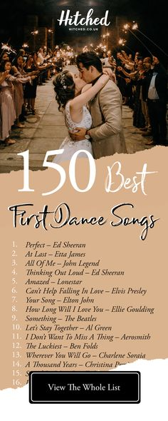 Country Wedding Discover The 150 Best First Dance Songs of All Time Find that memorable song thatll help you celebrate your first dance together as newlyweds - here are the best 150 first dance songs of all time with something for every kind of couple Best First Dance Songs, First Dance Wedding Songs, First Dance Lyrics, Best Love Songs, List Of Wedding Songs, Good Dance Songs, Wedding To Do List, Pop Songs, Dance Music Playlist