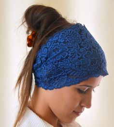 Navy blue lace headband stretchy hair band yoga headband by bstyle, $11.00