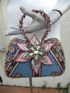 MARY FRANCES GORGEOUS HEAVILY BEADED BAG WITH ORCHID