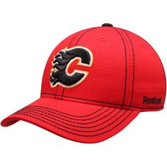 new style 71184 dbeb8 Reebok Calgary Flames Youth Red Basic Structured Adjustable Hat