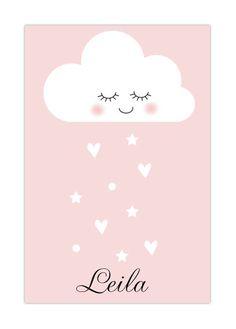 Zo lief dit geboortekaartje met wolkje. Super lief met roze en hartjes. Wolkjes op geboortekaartjes zijn helemaal hip in 2016! #geboorte #baby
