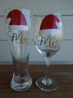 christmas Cricut Vinyl Gifts | CHRISTMAS Mr and Mrs Wine Glass and Pilsner by SoBadorable, $27.00