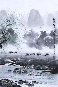 Artist ZhangQuanZong Oriental asian Ink Brush Art Landscape painting Original Chinese painting handmade rice paper decorations-in Painting & Calligraphy Asian Landscape, Chinese Landscape Painting, Japanese Painting, Chinese Painting, Landscape Art, Landscape Paintings, Chinese Artwork, Tinta China, Art Japonais