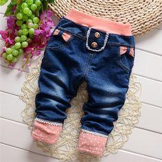 Cheap Envío gratis 2016 de primavera y otoño los niños pantalones de mezclilla, baby girls jeans pantalones, pantalones del cabrito #Z1565, Compro Calidad Pantalones directamente de los surtidores de China: