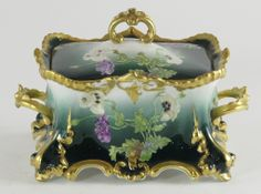Hand Painted and Gilt Limoges Porcelain Covered Box.