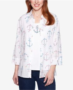 b305e5763c Alfred Dunner Petite Smooth Sailing Printed Layered-Look Top Anchor Print