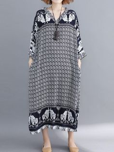 373255d061a DIMANAF Women s Long Dresses Elegant Ladies Plus Size Female Vestidos  Vintage Print Black Dress 2018 Autumn Cotton Loose Clothes