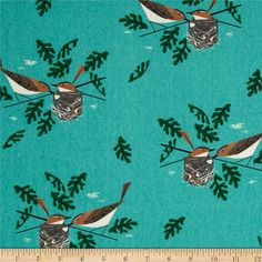 Birch Organic Canvas Charley Harper Red Eye Vireo Aqua from @fabricdotcom  Designed by Birch, this screen-printed cotton canvas is lightweight and very versatile. GOTS certified organic, this soft canvas is perfect for window accents (draperies, valances, curtains and swags), accent pillows, duvet covers and upholstery. Create handbags, tote bags, aprons and more. Colors include honey, grey, brown, hunter green and black on a dark aqua background.