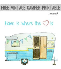 Vintage Camper Printable - from ink and watercolor illustration Camping Theme, Camping Crafts, Go Camping, Camping Ideas, Camping Quilts, Funny Camping, Family Camping, Camping Hacks, Retro Campers