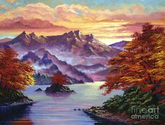 Red Maple Island Painting  - Red Maple Island Fine Art Print