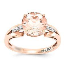 14k Rose Gold Diamond And Morganite Round Ring