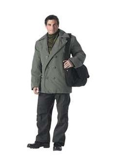 Ultra Force Olive Drab Vintage Cotton Peacoat | Buy Now at camouflage.ca
