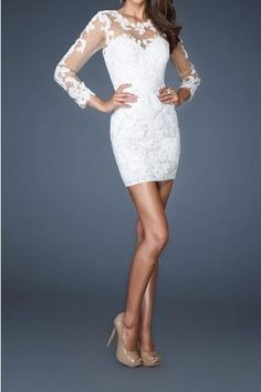 Long+Sleeve+White+Lace+short+Cocktail+Party+by+Perfectdresses,+$114.00