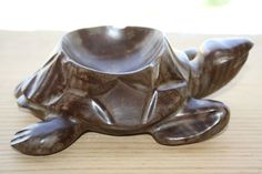 """Vintage Hard and Heavy Wood Ashtray Turtle Shaped Collectible Home Decoration 6"""""""