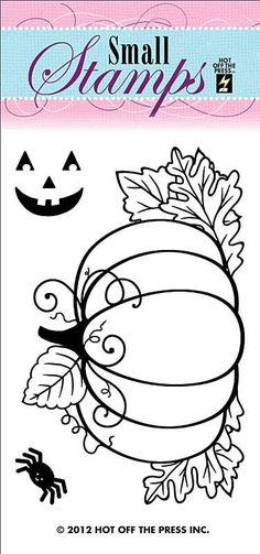 Pumpkin Small Stamp by Hot Off The Press Inc Pumpkin Coloring Pages, Coloring Book Pages, Fall Halloween, Halloween Crafts, Halloween Ideas, Moldes Halloween, Wool Applique, Pumpkin Applique, Halloween Coloring