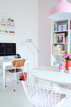 Girly office space - 2 tables, 1 for pc & 1 for working