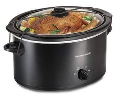 Hamilton Beach Portable Slow Cooker With Lid Latch Strap for Easy Transport, Dishwasher-Safe Crock, Black Slow Cooker Reviews, Best Slow Cooker, Cooking For One, Cooking On A Budget, Cooking Chef, Budget Meals, Hamilton Beach Slow Cooker, Tasty Dishes, Cool Kitchens