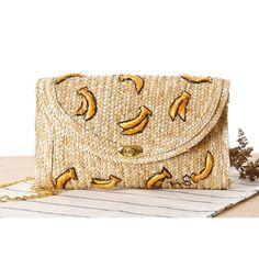 2015  Fruit Cherry Banana Stereoscopic Embroidery Summer Beach Straw Bag Cute Straw Bag Cross Body Women Chain Shoulder…