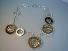 Necklace | Maria Moreno. Silver wire, horn, sterling silver