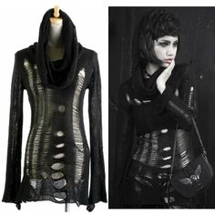 Black Wool Hooded Gothic Vampire Steam Punk Fashion Sweater Jacket SKU-11411004