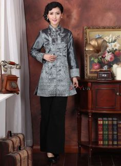 Gray Chinese Tradition Women's Silk Satin Lengthe Dust Coat Jacket Size 6 16 | eBay