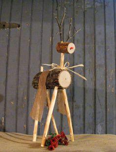 Rustic Log Reindeer - Wooden Reindeer Rustic Christmas