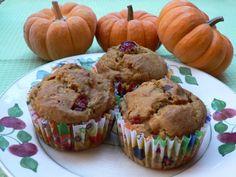 Pumpkin Cranberry Muffins (substitute 1 tsp liquid Stevia + 1/3 cup plain yogurt for the sugar!)