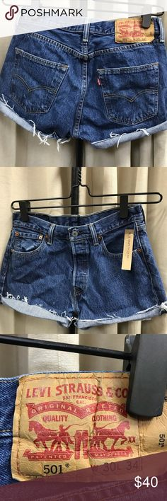 """Levi's 501 High waisted denim shorts 30w 38"""" hips, 10.5"""" rise Levis 501 denim cut off shorts, button fly. Vintage and sold as is. They run 1-2 sizes smaller than regular denim shorts so I recommend to buy at least one size larger. Its best to know your waist and hips measurements to ensure shorts that fit. If they do not fit, no exchanges. All sales are final, no exchanges or returns as per policy, no trades. Please do not use my photos without my permission. Price firm. Levi's Shorts Jean…"""