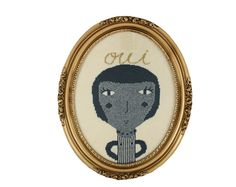 Parisienne - a Knitted Portrait  - wall hanging in oval frame | Colette Bream - Etsy Oui!