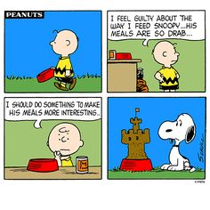 Charlie Brown's new way to feed Snoopy.