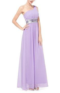 Simpledress Elegant Empire Line Beads One Shoulder Long Evening Dress >>> To view further, visit now : wedding dresses