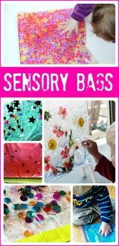 Materiales sensoriales: una colección de 24 bolsas sensoriales para bebés , niños pequeños y niños en edad preescolar.