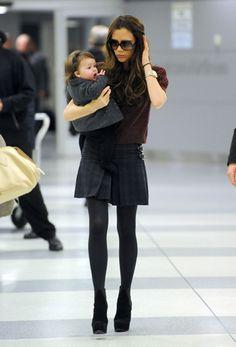 Cute baby Harper! Rockin' boots (Walter Steiger Oscar platforms) + skirt combo