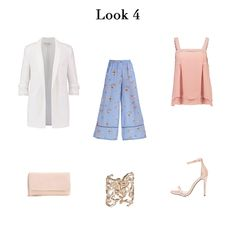 A Trendy Life: PROPUESTAS LOOKS PARA COMUNIÓN. Blush top+blue floral whide-leg pants+white blazer+blush ankle strap heeled sandals+blush clutch+gold bracelet. Spring First Communion Event Outfit 2017