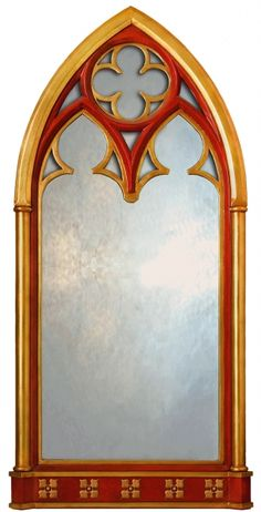 Romantic Yellow And Red Gothic Style Window Mirror Inspiration - Use J/K to navigate to previous and next images Arched Window Mirror, Arch Mirror, Arched Windows, Wall Mirror, Window Wall, Gothic Windows, Church Windows, Windows, Metal Art