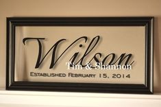 Personalized Family Name Sign Picture Frame by mrcwoodproducts, $38.00