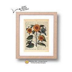 Sunflower dictionary print -N01- sunflower art print-sunflower on book page-Upcycled Dictionary art- by NATURA PICTA