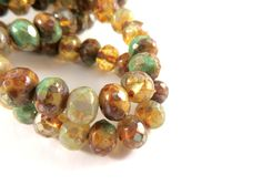 25 Champagne Mix Czech Fire Polished Faceted Glass Rondelle Beads 7x5mm - 10 pc - G6036-CHM10 by allearringsandsuppli on Etsy