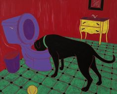 "Humorous Dog Art LARGE 16"" X 20"" Print - Black Labrador Art by Angela Bond. ""Drinking Problem"", This is a large print of one of my pop art paintings. Angela Bond @ 2010 I have never outgrown potty humor! print size 16"" X 20"" high quality print on Epson heavy weight matte paper signed and titled for original paintings go to; www.angelabondart.com."