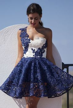 Silvia Navarro Navy And White Lace Fall Winter Collection Asymmetrical Skater Dress by 1sillaparamibolso