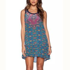 Boho Style Tribal Print Pretty Tank Hi-Lo Sleeveless Casual Summer Dress S-L