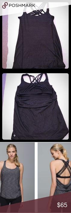 Lululemon Wild tank Very cute black tank with built in bra, low back to show bra. Fits loosely. Worn once, perfect condition. lululemon athletica Tops Tank Tops