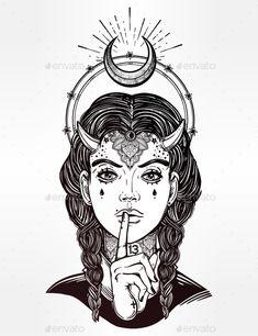 Hand Drawn Artwork of Female Demon Portrait Vector illustration EPS