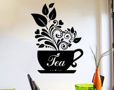 Wall Decal Tea Cup of tea Decals Cafe Dining Vinyl Stickers Murals Modern Interior Kitchen Coffee
