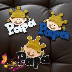 K Crafts, Ideas Para Fiestas, Mickey Mouse Birthday, Party Kit, Handmade Books, Fathers Day, Cake Toppers, Origami, Baby Shower