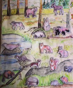 kuvalinkit metsäneläimiin, joista riimit Pre School, Kids Learning, Diy And Crafts, Kindergarten, Workshop, Activities, Children, Nature, Painting