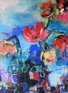 oil painting colorful flower abstract landscape illustration pattern